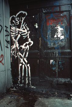 Amorous skeletons, East Village, New York, 1984