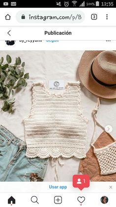 Débardeurs Au Crochet, Crochet Shirt, Crochet Crop Top, Crochet Bikini, Crochet Designs, Crochet Patterns, Crochet Summer Tops, Modern Crochet, Crochet Clothes