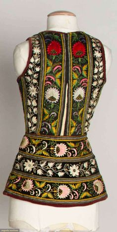 LONG EMBROIDERED FOLK VESTS, 1875-1925 Vests, Scandinavian, Paisley, Folk, Artisan, Creations, High Neck Dress, Textiles, Culture