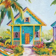Island Charm By Kathleen Denis Art On Canvas - East Coast Graphics, Multi-Colored Diy Canvas Art, Canvas Wall Art, Painting Inspiration, Art Inspo, Pintura Exterior, Cabana, Architecture Art Design, Caribbean Art, Tropical Art