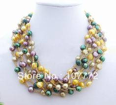 Charming! 7Strds Multi Color Pearl Necklace   Free  +shippment $28.50