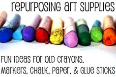 Great tips on using up all of those old art supplies instead of throwing them away.