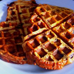 Cinnamon raisin bread dipped in egg and milk and cooked in the waffle iron. Perfect!