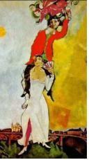 샤갈 - 와인잔을 든 이중 자화상 : 막 결혼한 듯한 젊은 부부가 하늘을 날아오르는 듯한 환희로 가득 차 있다. 화면 전체에 흐르는 약동 적인 기운이 여자를 감싸고 남자의 손끝에 집결되어 있다. 그리고 그 남자의 손끝엔 붉은 빛깔의 와인이 들려있다. 자신들의 사랑이 영원히 와인 빛깔처럼 영롱하고 곱게 빛나길 바라는 건지도 모른다. 샤갈은 베라 라는 여성과 결혼한 후 자신의 결혼생활의 기쁨을 연속 작품으로 표현하였다. 와인은 여기서 부부간의 육체적인 사랑을 뜻하는 에로틱한 의미와 아이의 태어남을 축하하는 이중적인 상징으로도 해석될 수 있다. 사랑과 축복이라는 의미가 가득한 샤갈의 작품이다.
