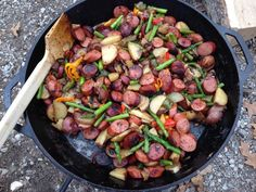 The most amazing smoked sausage and potato succotash. Perfect for camp cooking. Is summer here yet???