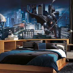 Batman - Dark Knight Rises Prepasted Mural 6' X 10.5' - Ultra-Strippable-Bring the Dark Knight into any bedroom, den, or man cave with this dramatic wallpaper mural. Featuring officially licensed art from The Dark Knight Rises, this eyecatching des