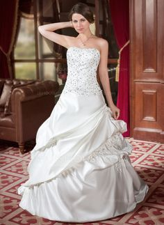 Wedding Dresses - $206.99 - A-Line/Princess Sweetheart Court Train Satin Wedding Dress With Ruffle Beadwork Sequins (002000443) http://jjshouse.com/A-Line-Princess-Sweetheart-Court-Train-Satin-Wedding-Dress-With-Ruffle-Beadwork-Sequins-002000443-g443?ver=xdegc7h0