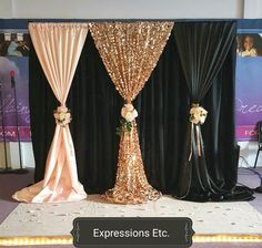 X Black With Hotpink Wedding Backdrop With Beautiful Swag Stage Curtain Dr. - Home Wedding Decor - Hochzeit Gold Backdrop, Backdrop Decorations, Wedding Decorations, Decoration Party, Wedding Ideas, Backdrop Ideas, Prom Decor, Backdrop Wedding, Decor Wedding