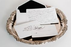 Classic black and white wedding stationery on an antique silver platter Save The Date Invitations, Wedding Invitations, Invitation Ideas, Silver Platters, Wedding Types, Black Tie Affair, Creative Colour, Wedding Stationary, Spring 2014