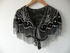 Vintage Beaded Capelet  Victorian Style Shawl Sheer by topgens