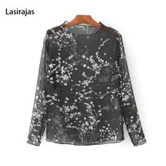Hot Sale Women Shirt Spring Light Blouse Female Perspective Black Florar Print Full Sleeve O-Neck Casual Blusas Pullover