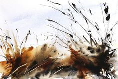 Expressive loose semi abstact watercolour painting by Adr. Winter Grasses S Watercolor Beginner, Easy Watercolor, Watercolor Sketch, Abstract Watercolor, Watercolour Painting, Watercolours, Painting Grass, Watercolor Scenery, Watercolor Landscape