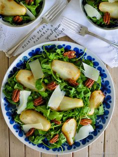 Roasted Pear, Parmesan & Spiced Pecan Salad by