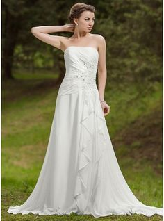 A-Line/Princess Sweetheart Chapel Train Chiffon Wedding Dress With Beading Appliques Lace Cascading Ruffles
