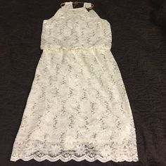 R&M Richards Ivory dress Lace overlay with sequins, halter neck with gold chain detail, fold over dress with lace hem detail, worn only once R&M Richards Dresses Midi