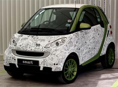 Another detailed black and white design by Johanna Basford Joanna Basford, Collaborative Art Projects, Cool Doodles, Learning To Drive, Smart Fortwo, Smart Car, Diy Car, Black And White Design, Hot Cars