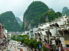 Yangshou is nestled in the iconic limestone mountains of Guillin.