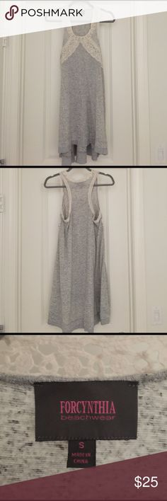 Grey High-Low Dress Great dress for any occasion. Grey high-low dress with cream lace on the top, racer-back, and comfortable fabric. Forcynthia Dresses High Low