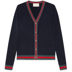 Gucci Merino Wool Knit Cardigan ($990) ❤ liked on Polyvore featuring tops, cardigans, blue, v neck tops, v-neck cardigan, merino top, merino wool cardigan and knit cardigan