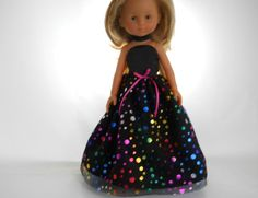 13 inch doll clothes made to fit dolls such as Corolle Les Cheries doll clothes  Black Dot Dress with Choker, 05-1099 by thesewingshed on Etsy