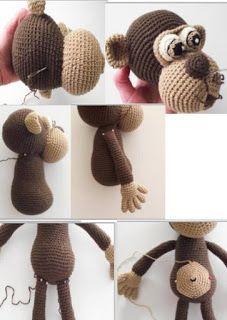 Crochet Dolls, Knit Crochet, Crochet Hats, Knitting Projects, Crochet Projects, Baby Knitting Patterns, Crochet Patterns, Crochet Animals, Monkey