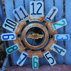 Clock Chevy Hubcap ClockLicense Plate Garage by dables on Etsy
