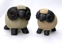 sheep pots hand built by Sue Jenkins