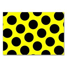 Yellow and Black Polka Dots Table Cards