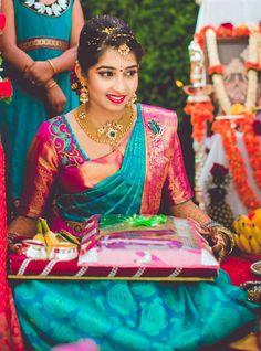 48 ideas for indian bridal sari saree blouse designs Pattu Sarees Wedding, Wedding Saree Blouse Designs, Pattu Saree Blouse Designs, Half Saree Designs, Blouse Designs Silk, Designer Sarees Wedding, Bridal Sarees South Indian, Bridal Silk Saree, South Indian Bride