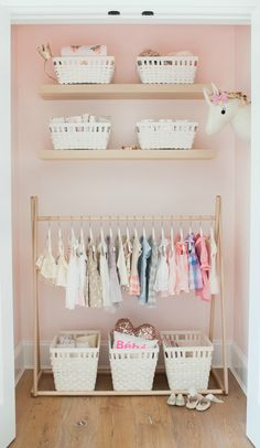 This sweet DIY pink and floral nursery from @monikahibbs is chock full of design inspiration for your own home. Check out her adorable peachy pink closet with its organized clothing rack and basic shelves for storage space that's simple and stylish. Head on over to Monika's blog to see what a coat of BEHR paint can do for you today.