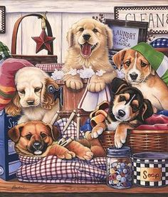 Jenny Newland: Suds and Pups (550 Piece Puzzle by Karmin)
