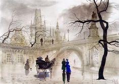 Дождливые пейзажи акварелью от Сабира и Светланы Гаджиевых - Ярмарка Мастеров - ручная работа, handmade