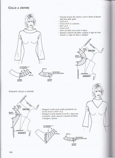 from La tecnica dei modelli uomo donna 1 boat collar Coat Patterns, Clothing Patterns, Sewing Patterns, Pocket Pattern, Collar Pattern, Pattern Cutting, Pattern Making, Sewing Clothes, Diy Clothes