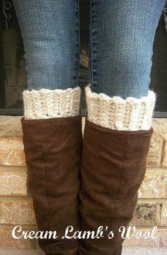 Boot Socks - Thick & Chunky Wool Boot Socks - 1 Pair Cream Boot Socks Wool Crochet - Boot Socks / Boot Cuffs / Boot Toppers - Boot Socks. $19.75, via Etsy.