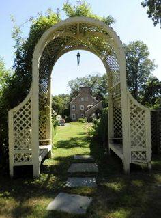 Garden arch with seats- such a great idea wouldn't i just love to sit under that… Garden Archway, Terrace Garden, Garden Gates, Outdoor Ideas, Outdoor Spaces, Obelisk Trellis, Court Yard, Entrance Gates, Arbors