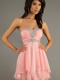 US$159.99 Custom Made A-line Sweetheart Natural Short/Mini Sleeveless Beading Ruched Zipper Up Chiffon Flamingo Pink Prom / Homecoming / Cocktail Dresses By Alyce 3554 with free shipping - Motherbride2015.com