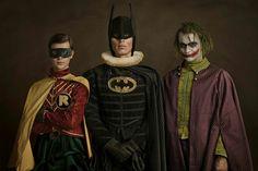 Renaissance Burt Ward, Adam West, and Heath Ledger as Batman, Robin, The Joker by Sacha Goldberger Book Characters Dress Up, Character Dress Up, Character Poses, Comic Book Characters, Comic Books Art, Comic Art, Fictional Characters, Batman Robin, Family Posing