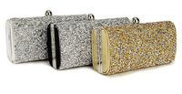 Luxury Diamante Evening Bag Rhinestone Clutch Purse Prom Party Wedding Bridal Banquet Shimmering Handbag Chain Silver Gold Black