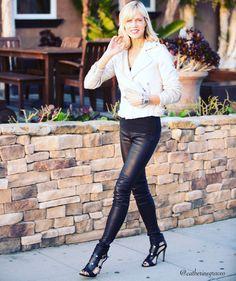 Sequin Jacket by @shopcami; Loeffler Randall clutch, Helmut Lang leather pants, Rebecca Minkoff heels