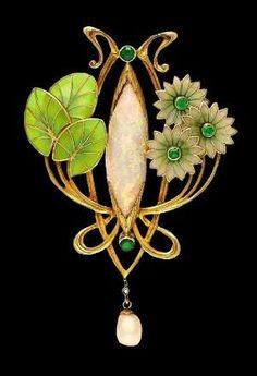 Art Nouveau opal, pearl and emerald enamel brooch. by bethany http://www.allthingsvogue.com/best-everyday-silver-bracelets/