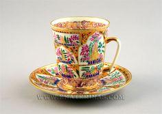 """Lomonosov """"Tender Landscapes"""" Cup & Saucer, hand painted, 22k gilt, designed by A. Vorobyevsky"""