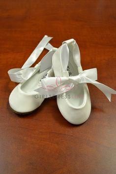 Ivory Infant & Todders Shoes with Ribbon KBS004-BABY KBS004-BABY-IV $19.95 on www.GirlsDressLine.Com