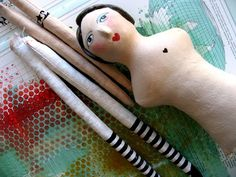 Paper - clay DIY dolls & birds whimsy