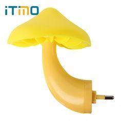 iTimo EU US Plug Mushroom Wall Socket Lights LED Night Light Lamp for Bedroom Home Decoration Light-controlled Sensor