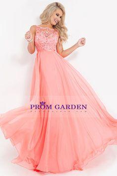 2015 Graceful Bateau Chiffon Beaded Prom Dress With Ribbon A-Line Sweep Train USD 169.99 PGNPL5RP7HK - PromGarden.com