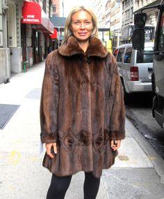 Pre-Owned Natural Demi Buff  Female Mink 3/4 Swing Coat (size: 12)