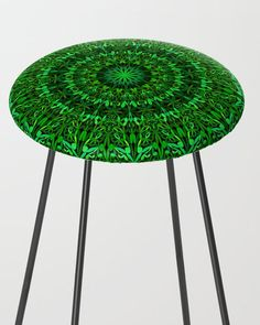 Green Spiritual Mandala Garden Bar Stool by davidzydd Mandala Garden, Extra Tall Bar Stools, Garden Bar, Counter Stools, Kitchen Decor, Spirituality, House Design, Boho, Furniture