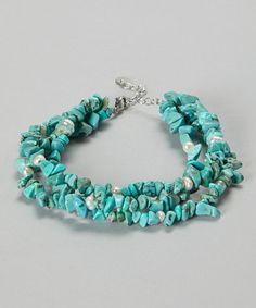 Turquoise & White Pearl Triple Row Bracelet