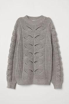H&M Cable-knit Sweater - Gray Sweater Knitting Patterns, Lace Knitting, Knitting Stitches, Knitting Designs, Knit Patterns, Knit Crochet, Crochet Pattern, Knit Fashion, Sweater Fashion