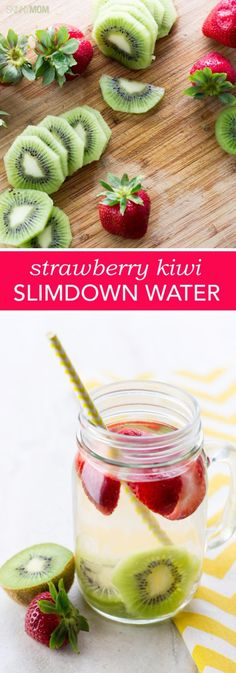 Best DIY Detox Waters and Recipes - Strawberry Kiwi Slimdown Water - Homemade Detox Water Instructions and Tutorials - Lose Weight and Remove Toxins From the Body for Your New Years Resolutions - Easy and Quick Recipe Ideas for Getting Healthy in 2017 - DIY Projects and Crafts by DIY Joy http://diyjoy.com/best-diy-detox-waters